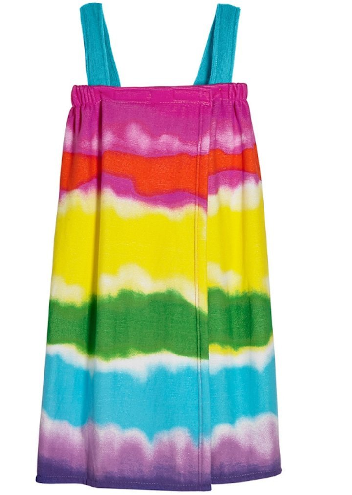L C Boutique Girls Tie Dye Spa Wrap Swim Cover-up Bathrobe Adjustable 3C4G