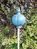 Große Gartenkugel aus Keramik - blau 25x16 cm - Rosenkugel - Gartenstecker - Shabby