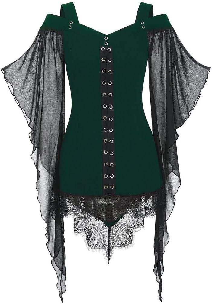 Fossenfeliz Disfraces Medievales Mujer de Reina Gótico de Encajes, Vestidos de Fiesta Mujer Tallas Grandes - Disfraz de Halloween de Mujer Elegante, Disfraces Originales Adulto
