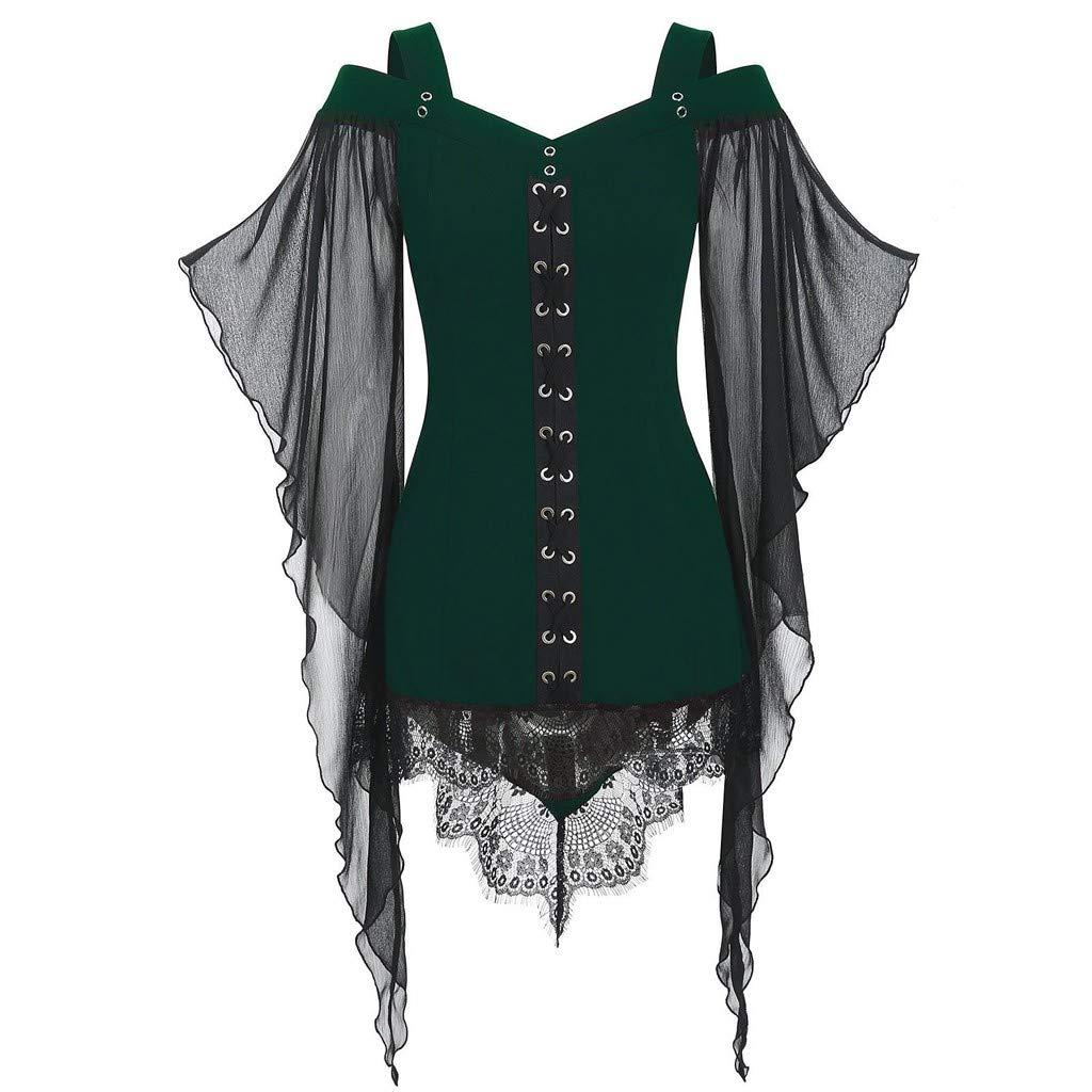 Halloween Women's Tops Gothic Cross Lace Insert Sleeve T Shirt Plus Size Blouse Green by VESNIBA LLC