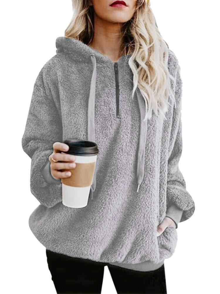 Nvxiyya Women Long Sleeve Sherpa Fleece Slouchy Loose Fit Sweatshirts Jackets Hoodies with Pockets Grey L