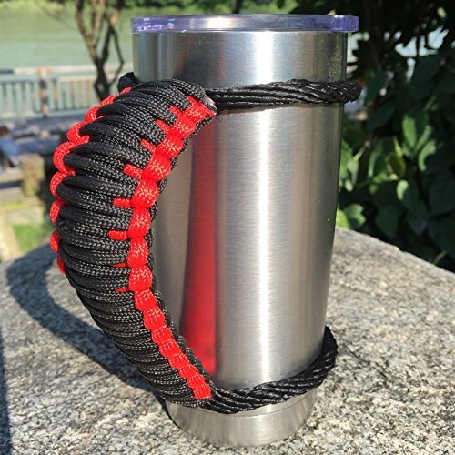 Red Black Handles - MOCE Handmade Paracord Handle for Yeti/Rtic/Ozark Trail Rambler 20 Oz Tumbler. Red/Black