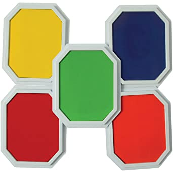 Constructive Playthings Basic 5 Set Multi Colored Ink Large Washable Stamp Pad Kid For Rubber