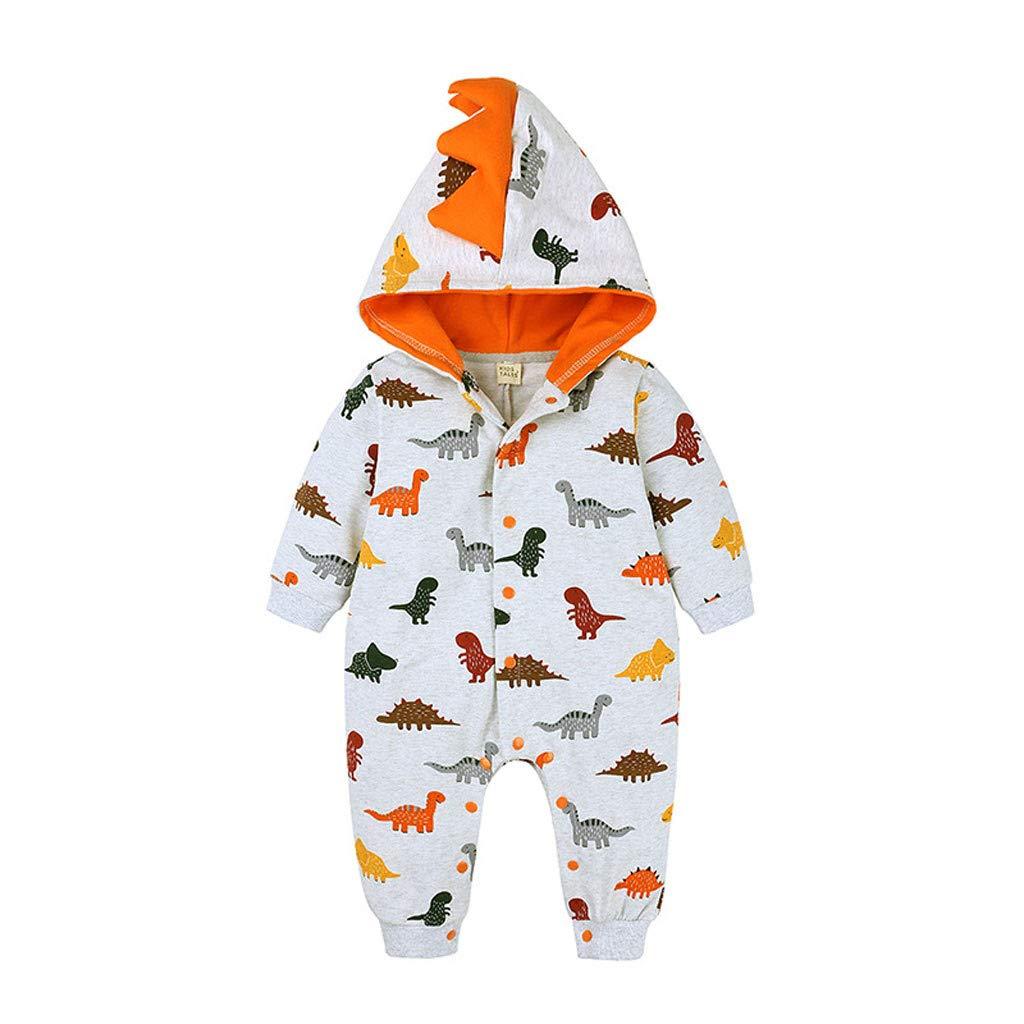 US Baby Boy Infant Cartoon Dinosaur Romper Bodysuit Jumpsuit Outfit Clothes 0-2T