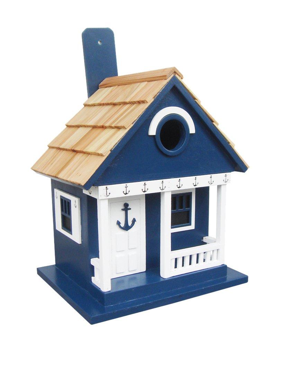 Home Bazaar Hand-made Anchor Cottage Navy Birdhouse - Functional Birdhouse - Home Decor