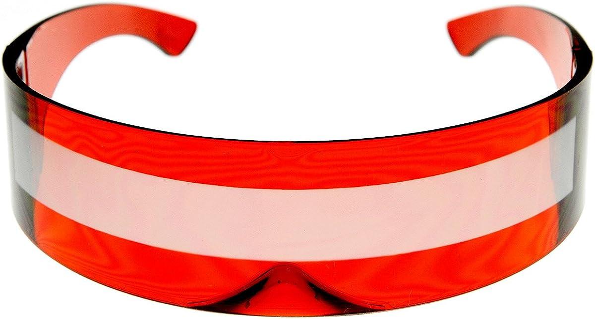 zeroUV 80s Futuristic Cyclops Cyberpunk Visor Sunglasses with Semi Translucent Mirrored Lens
