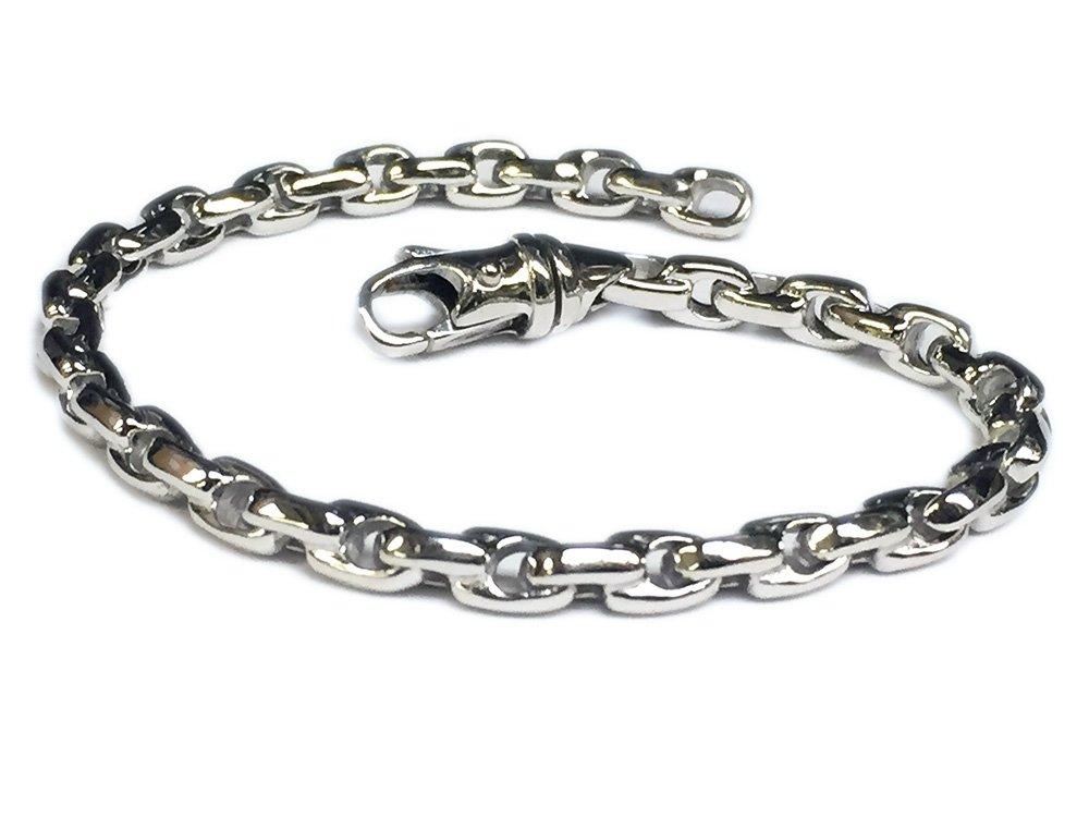 TEX 14K Solid White Gold Heavy Handmade Link Men'S Chain/Bracelet 5Mm (8.5 Inches)