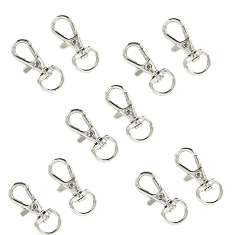 Pulling up key rings Carabiner hook with swivel silver 1-100 pcs