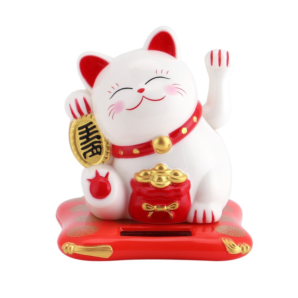 Solar Powered Waving Cat Waving Arm Good Luck Decorative Cat Home Hotel Restaurant Car Ornaments(Yellow) Huhushop