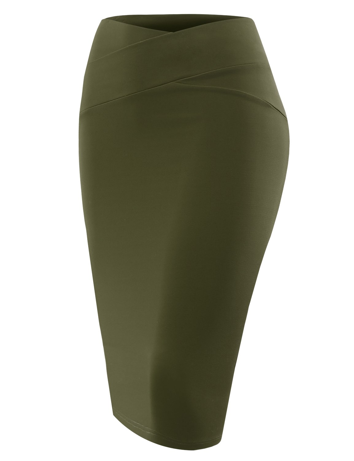 ALL FOR YOU Women's Slim Fit Front Detailed Pencil Skirt Olive Small