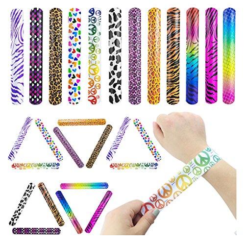 IFfree 40pcs Slap Bracelets with print zebra,cheetah, tiger, hearts,Toy Party Favors For Children -