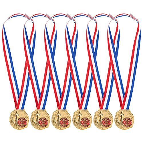 Juvale Pack of 6 Gold Medals - Winner Medals for Kids and Adults - Made from Real Metal - Great for All Contests and Competitions, Gold, Red, White, Blue