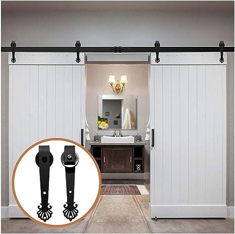 LWZH kit de riel para puerta corrediza de granero de 13 pies para perchas con forma de corona negra de doble puerta (cada puerta mide 39 pulgadas de ancho): Amazon.es: Bricolaje y