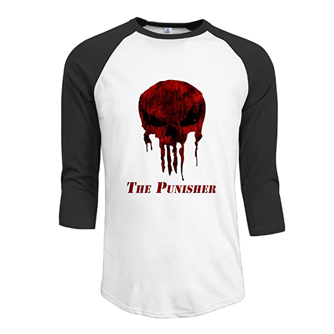091b07e3b2ec Amazon.com: Men's The Punisher Skull Logo Raglan Shirts Popular 3/4 Sleeve  Baseball Tee Black: Clothing