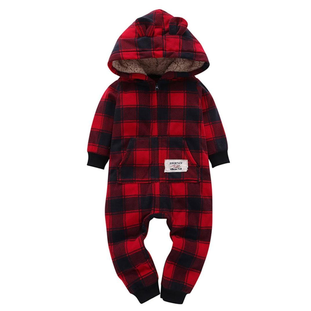 Momola Autumn Winter Baby Boys Girls Thicker Grid Hooded Romper Jumpsuit Outfit Set, 6-24 Months Infant Kids Clothes CLO55