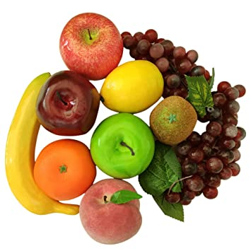 Jking Artificial Plastic Mixed Fruits Pack Of 10 Simulation Plastic Decorative Fruits Display