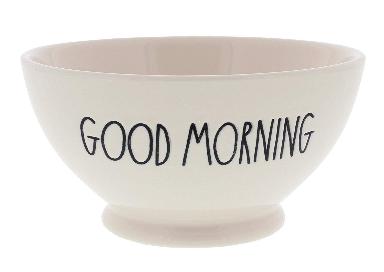 Rae Dunn Magenta Artisan Collection Soup Cereal Bowl GOOD MORNING