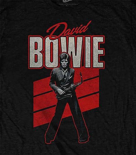David Bowie T Shirt Rouge Sax Retro Logo Nouveau Officiel Homme