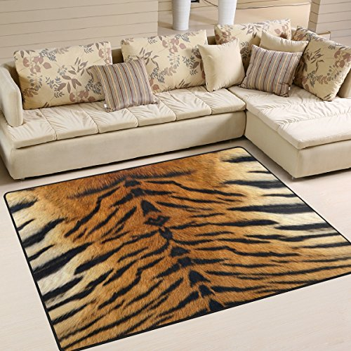 (Naanle Animal Print Area Rug 5'x7', Tiger Print Polyester Area Rug Mat for Living Dining Dorm Room Bedroom Home Decorative)