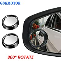 GSKMOTOR 2x Car Blind Spot Mirror 360° Wide Angle Adjustable Rear Side View Convex Glass