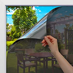 BDF 1SBK Static Cling Non-Adhesive One Way Heat Rejection Daytime Privacy Window Film, Silver & Black - 35.4in X 14ft