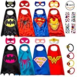 Dropplex 8 Superhero Capes for Kids - Super Hero Toys & Costumes Birthday Party Supplies (Boys & Girls)
