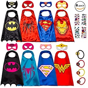 8 Superhero Capes for Kids - Super Hero Toys & Costumes Birthday Party Supplies