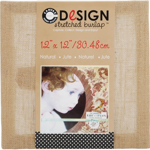 Canvas Corp 12-Inch by 12-Inch Jute Stretched Natural Burlap
