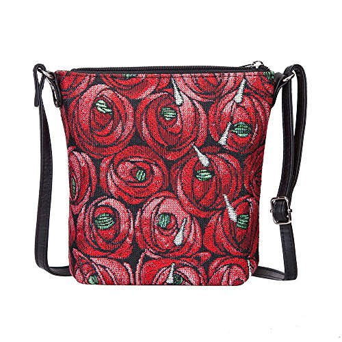 (Charles Rennie Mackintosh Rose and Teardrop Art Nouveau Small Cross Body Bag for Women/Sling Crossbody bag by Signare/SLING-RMTD)