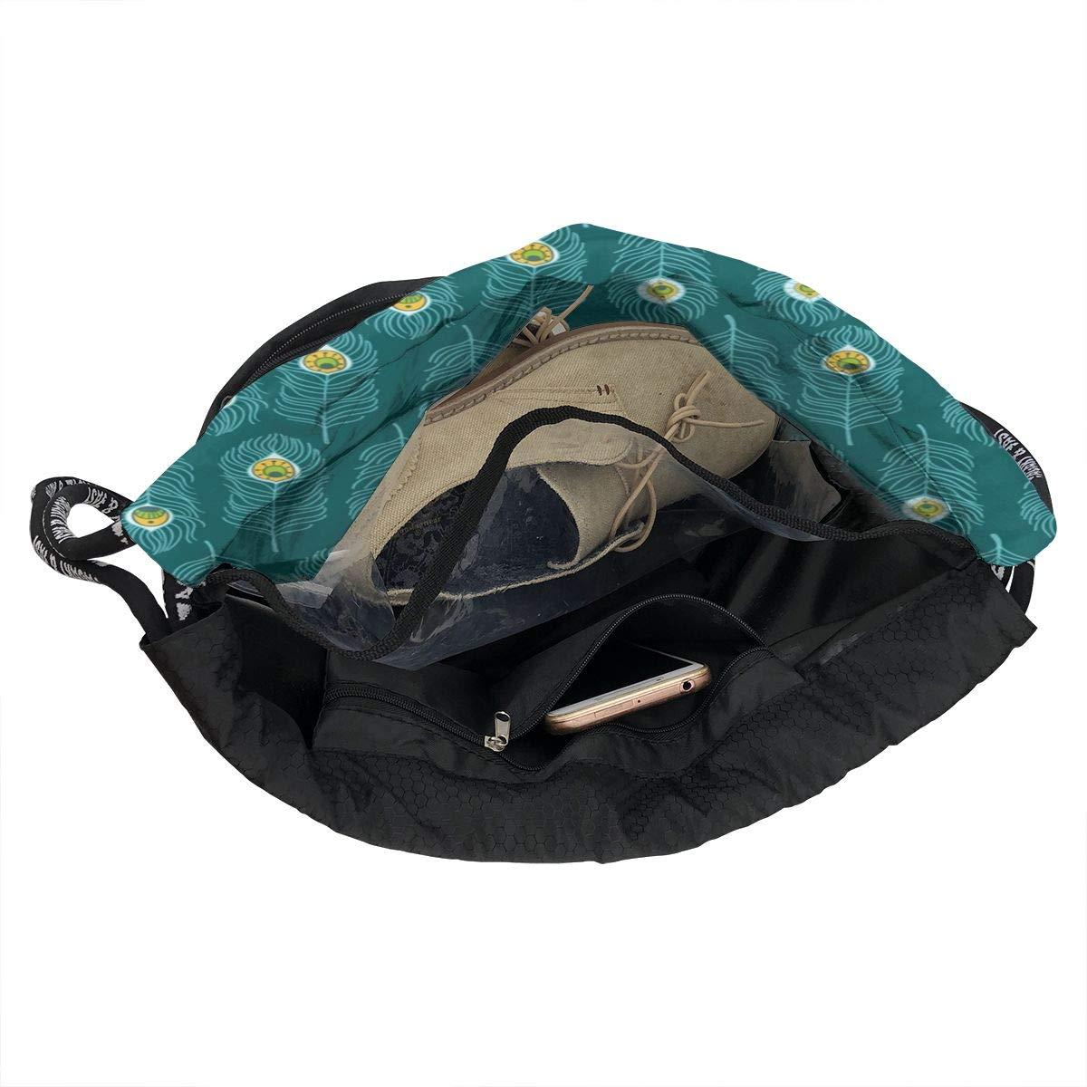 HUOPR5Q Hand-Drawn-Peacock-Feather Drawstring Backpack Sport Gym Sack Shoulder Bulk Bag Dance Bag for School Travel