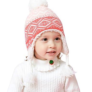 ab635301f602 LAPLBEKE Casquette Tricot Hiver Chaud Chapeau Bonnet Beanie Pompom Capuchon  Casquette Calotte Coiffe Hat Cap pour