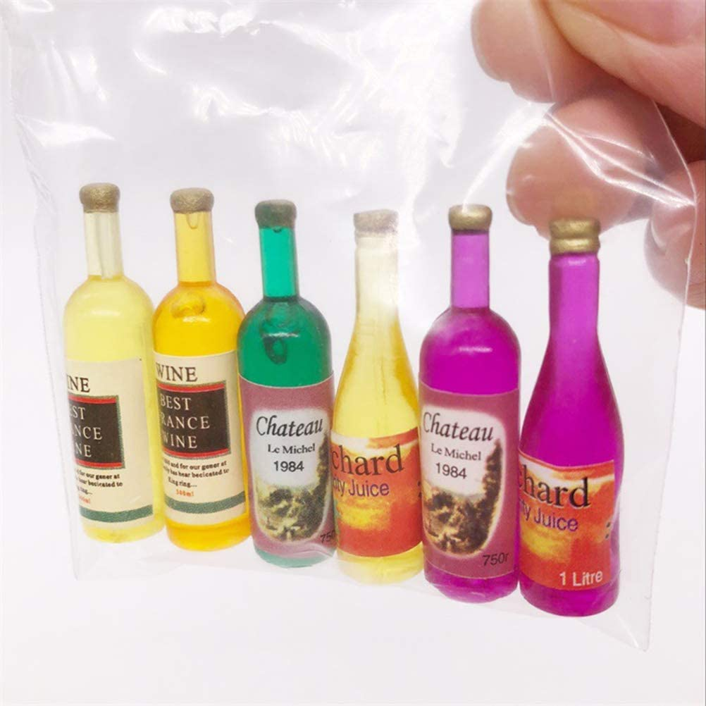 SUPVOX 6 unids Dollhouse Muebles Dollhouse Mini Botella de Vino Jugo Botella de Jugo para 1:12 Dollhouse Bar Contador de Mesa de Comedor de Comedor Accesorios