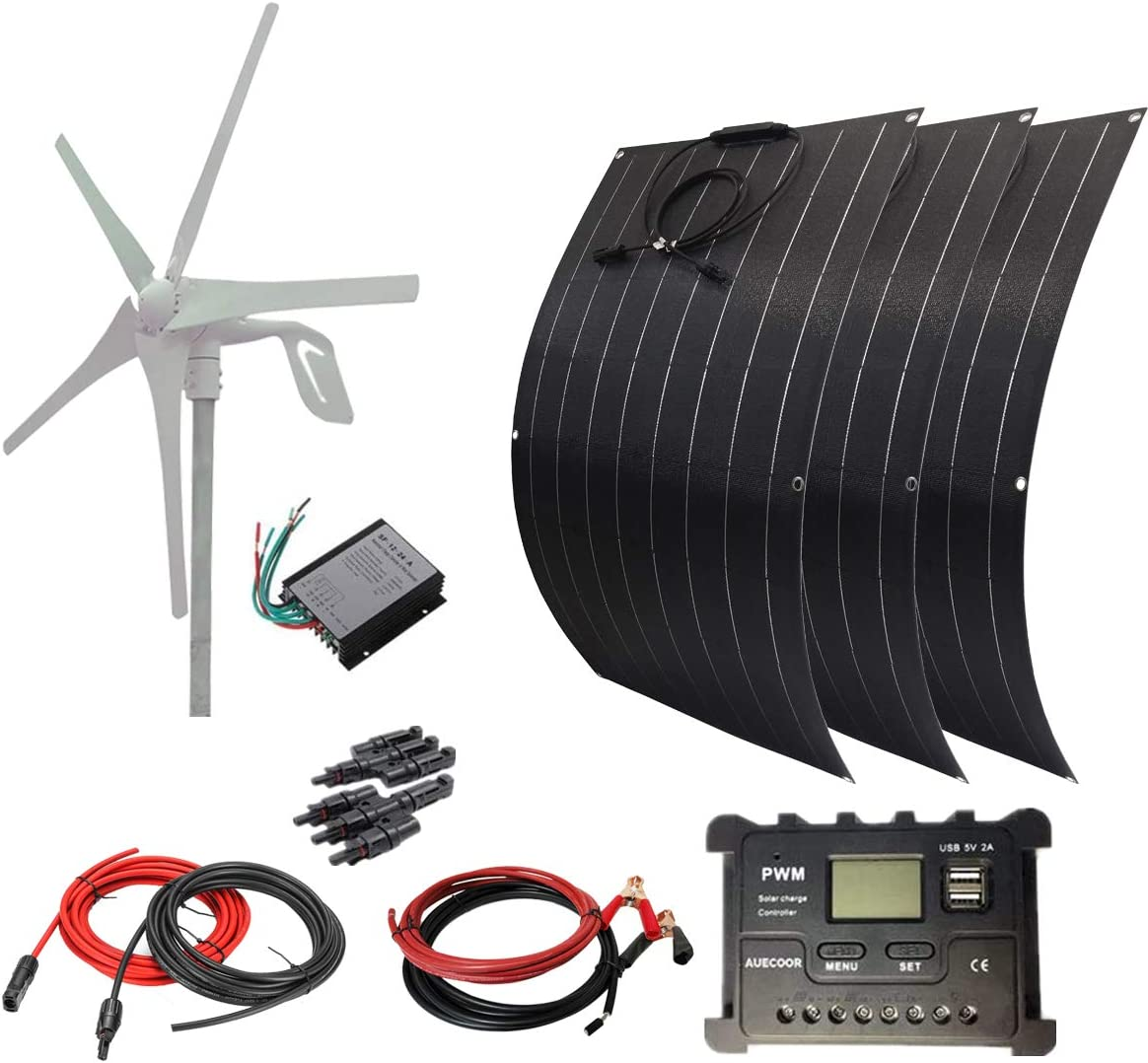 AUECOOR 700W Solar Wind Power Kit: 300W Flexible Monocrystalline Solar Panel + 400W 12V Wind Turbine Generator + Accessories for Home, Boat, Farm, Off Grid Application