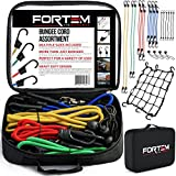 Bungee Cord Hook Assortment by FORTEM | 24 Piece Set w/Canopy Ties & Ball Bungees | Plastic Coated Metal Hooks | Bonus Cargo Net