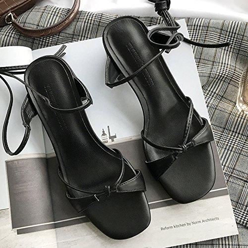 da con Nero estivi aperta Opzionale EU35 dimensioni sandali 3 a Semplici Colore chiusura misura colori CN34 Marrone opzionali donna CAICOLOR grossolani punta UK3 qSEYw