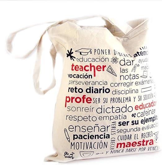 OleMyTeacher Bolsa de Tela para Profesora - Tote Bag - Algodón ...