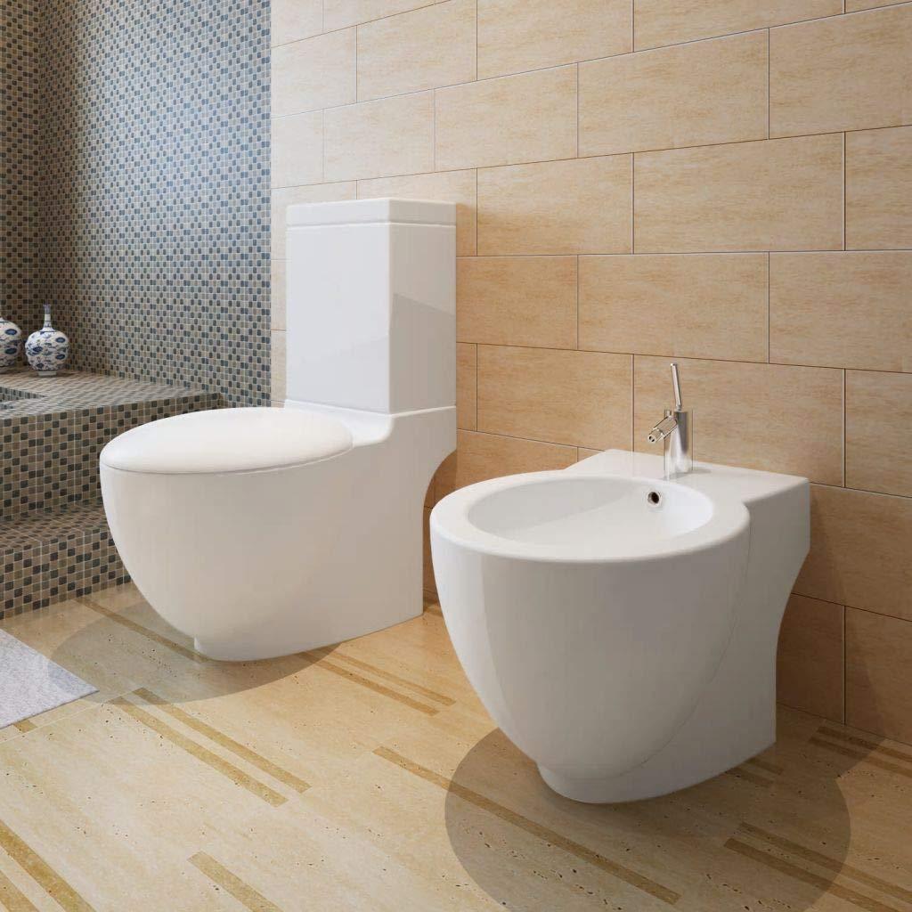 vidaXL Bidet Vaso rotondo bagno in ceramica di alta qualità con piede bianco