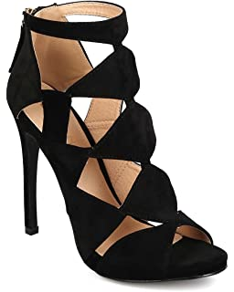 e2fdc496b57fb Amazon.com | Liliana Women Leatherette Pointy Toe Gladiator Stiletto ...