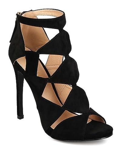 dc1929ea7921 Liliana Women Faux Suede Peep Toe Cut Out Stiletto Heel EI95 - Black (Size