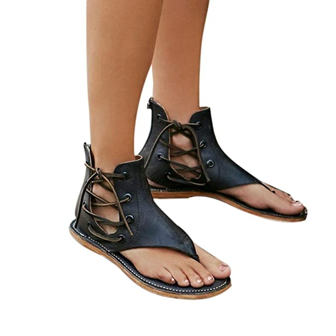 28162f4b0 Baigoods Women Summer Pinch Flat-Bottomed Roman Sandals Strappy Sandals  Ankle Flat Straps Genuine Leather