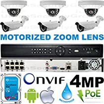 USG Business Grade 4MP 2592x1520 6 Camera HD Security System : 16 Channel 6MP Security NVR + 3x Dome 2.8mm & 3x Bullet Motorized 2.8-12mm Cameras + 1x 2TB HDD : Apple Android Phone App