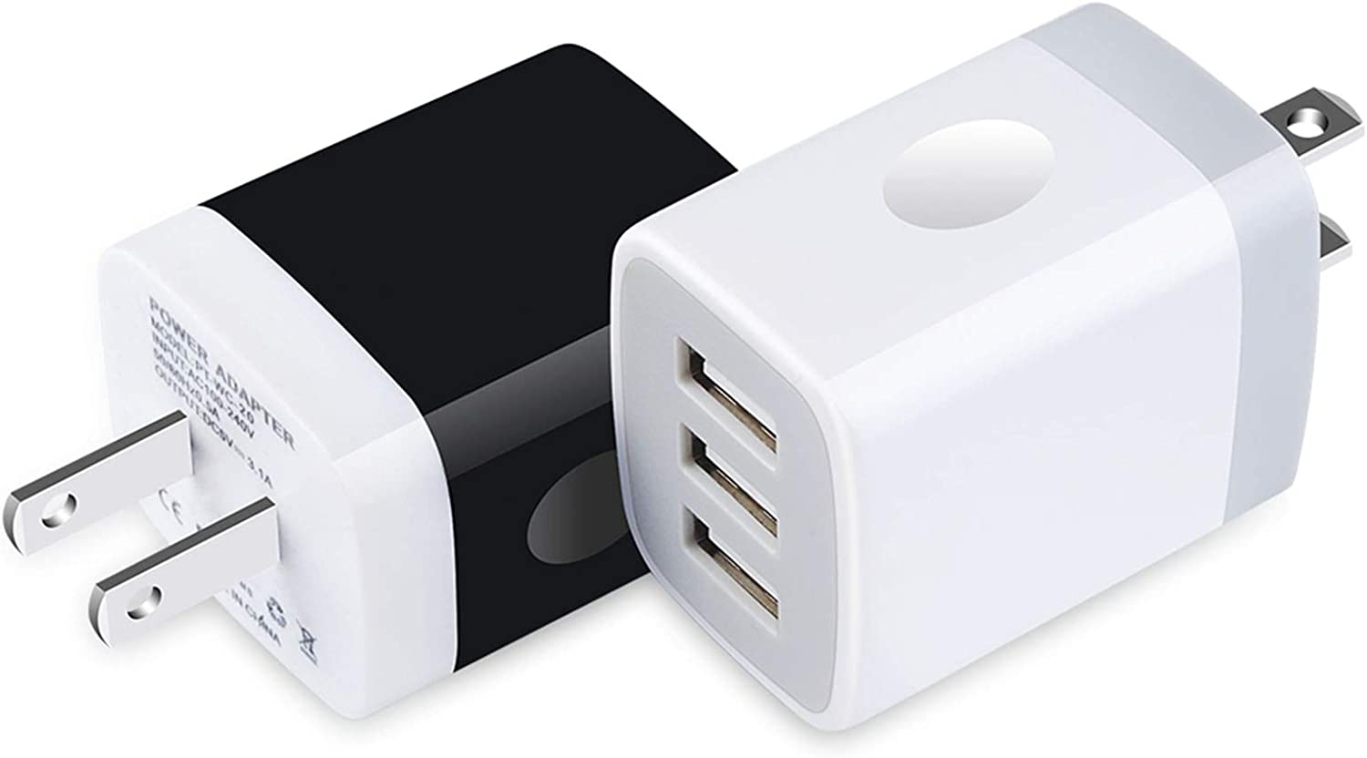 USB Wall Charger, 2-Pack 3.1A 3-Port Charger Adapter Cube for Multiple Devices Compatible with iPhone 11/10/Xs/XS Max/XR/X/8,Samsung Galaxy A50s/S10/S9/S8/S7,Note 10/9/8,LG Android Phone