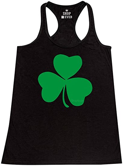 f0629768 Shop4Ever Irish Shamrock Lucky Women's Racerback Tank Top St. Patricks Day Tank  Tops X-