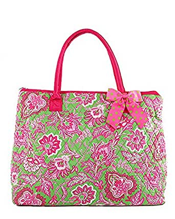 Belvah Quilted Floral Large Tote Bag (Lime/ Fuchsia)
