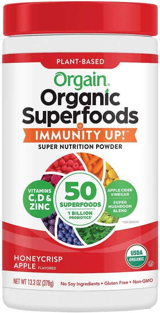 Orgain Organic Superfoods + Immunity UP! Super Nutrition Powder, Honeycrisp Apple, 13.3 oz