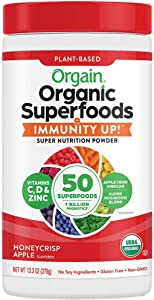 Orgain Organic Superfoods + Immunity UP! Super Nutrition Powder, Honeycrisp Apple, 13.3 oz