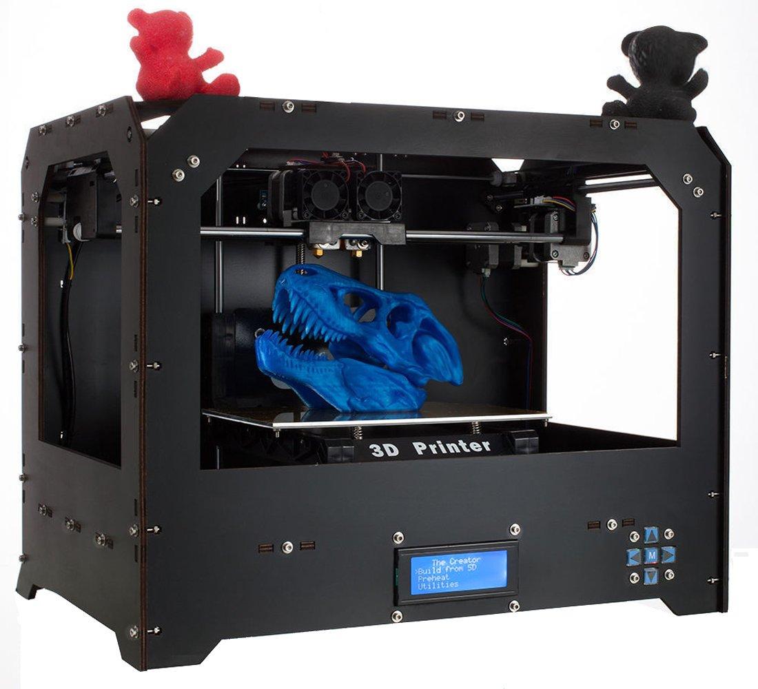 GUCOCO Plug and Play Desktop 3D Drucker von mit optimierter MK8-Doppelextruder-Hochpräzisions-Baugröße 225 × 145 × 150 mm - ABS/PLA 1, 75 mm-Spule (FDM 3D Drucker.)