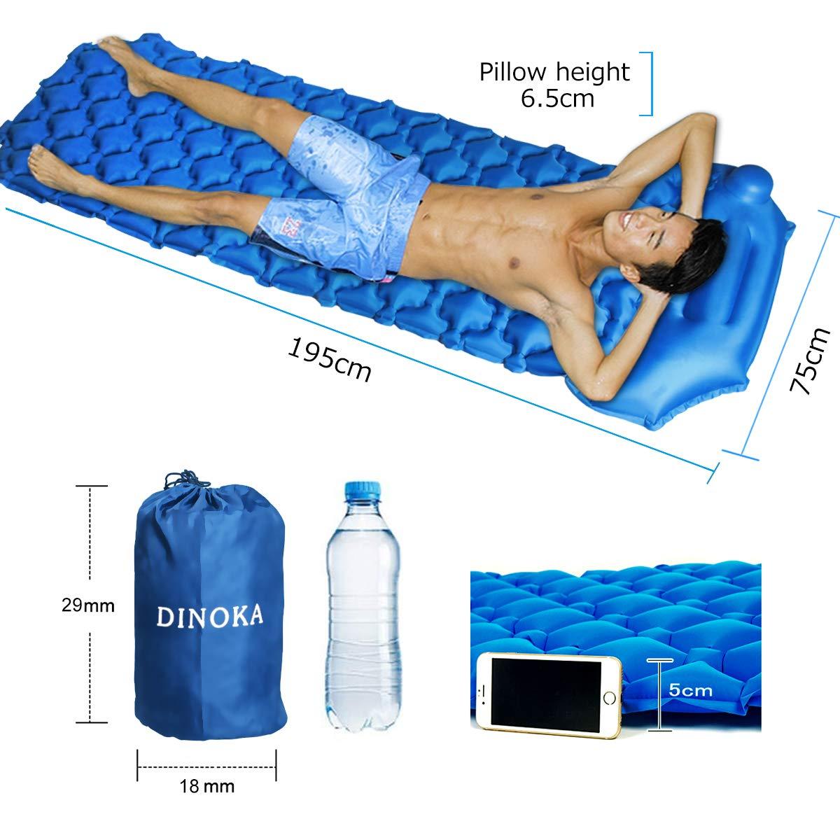 Reise Wandern Strand,Schwimmbad Outdoor DINOKA Isomatte Camping Schlafmatte Kompressions Design Camping Schlafmatte Ultraleichte Aufblasbare Luftmatratze Schlafmatte f/ür Camping