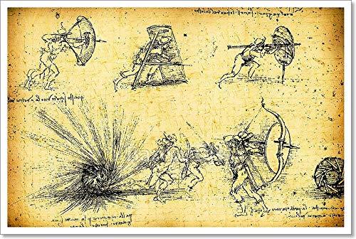 Leonardo Da Vinci 'sエンジニアリング図面用紙印刷壁アート 16in. x 24in. 16in. x 24in.  B077ZH1R6G