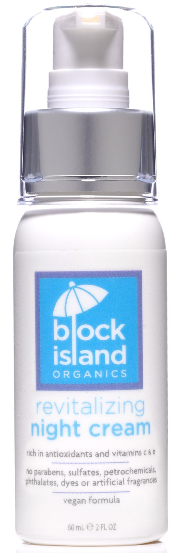 Block Island Organics - Organic Revitalizing Night Cream with Antioxidants Vitamin C and E - Deeply Moisturizes the Face, Neck, Eyes and Décolleté - Vegan Formula - EWG Top Rated - 2 FL OZ